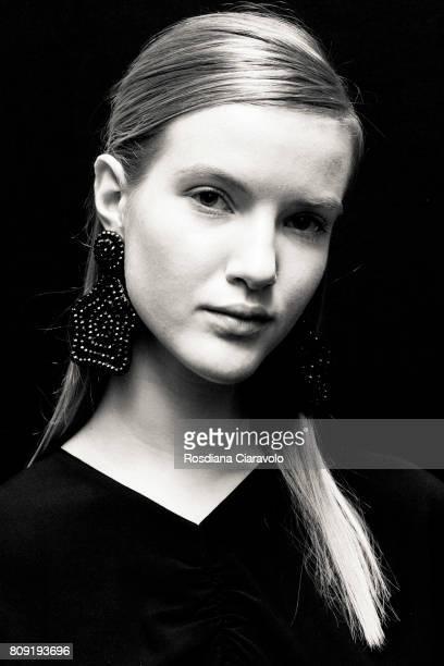 A model is seen backstage ahead of the Malaikaraiss during the MercedesBenz Fashion Week Berlin Spring/Summer 2018 at Kaufhaus Jandorf on July 5 2017...