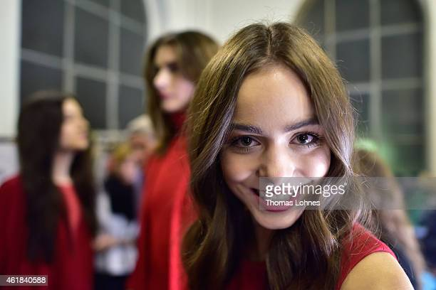 A model is seen backstage ahead of the Marcel Ostertag show at Heeresbaeckerei on January 20 2015 in Berlin Germany