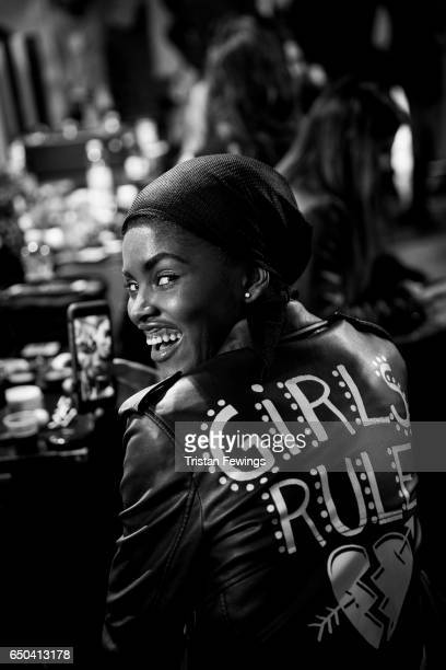 A model is seen backstage ahead of the Max Mara show during Milan Fashion Week Fall/Winter 2017/18 on February 23 2017 in Milan Italy