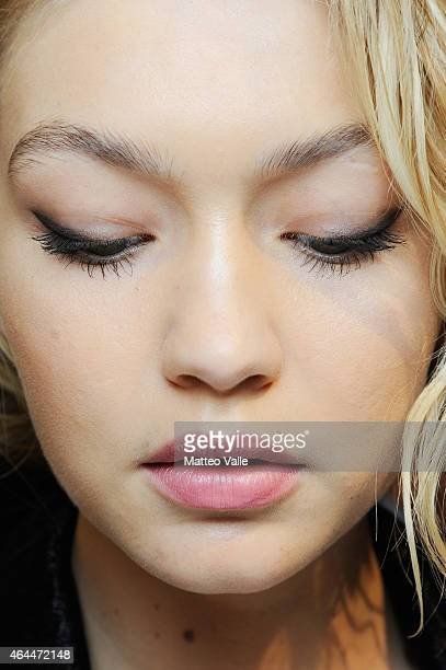 A model is seen backstage ahead of the Max Mara show during the Milan Fashion Week Autumn/Winter 2015 on February 26 2015 in Milan Italy