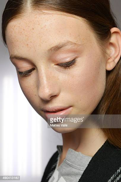 A model is seen backstage ahead of the Mila Schon show during Milan Fashion Week Spring/Summer 2016 on September 28 2015 in Milan Italy