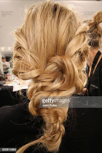 A model is seen backstage ahead of the Minx by Eva Lutz show during the MercedesBenz Fashion Week Berlin Autumn/Winter 2016 at Brandenburg Gate on...