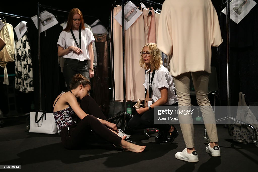 A model is seen backstage ahead of the Minx by Eva Lutz show during the Mercedes-Benz Fashion Week Berlin Spring/Summer 2017 at Erika Hess Eisstadion on June 29, 2016 in Berlin, Germany.