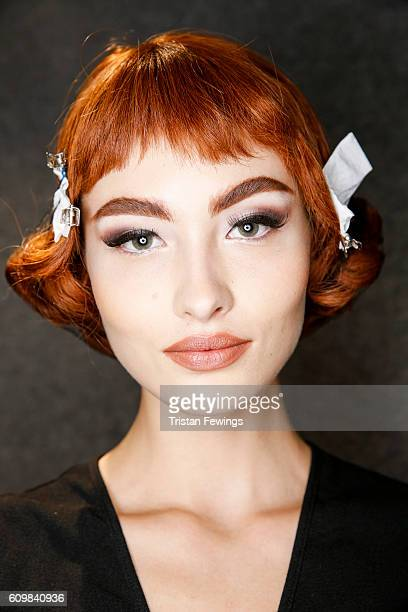 A model is seen backstage ahead of the Moschino show during Milan Fashion Week Spring/Summer 2017 on September 22 2016 in Milan Italy