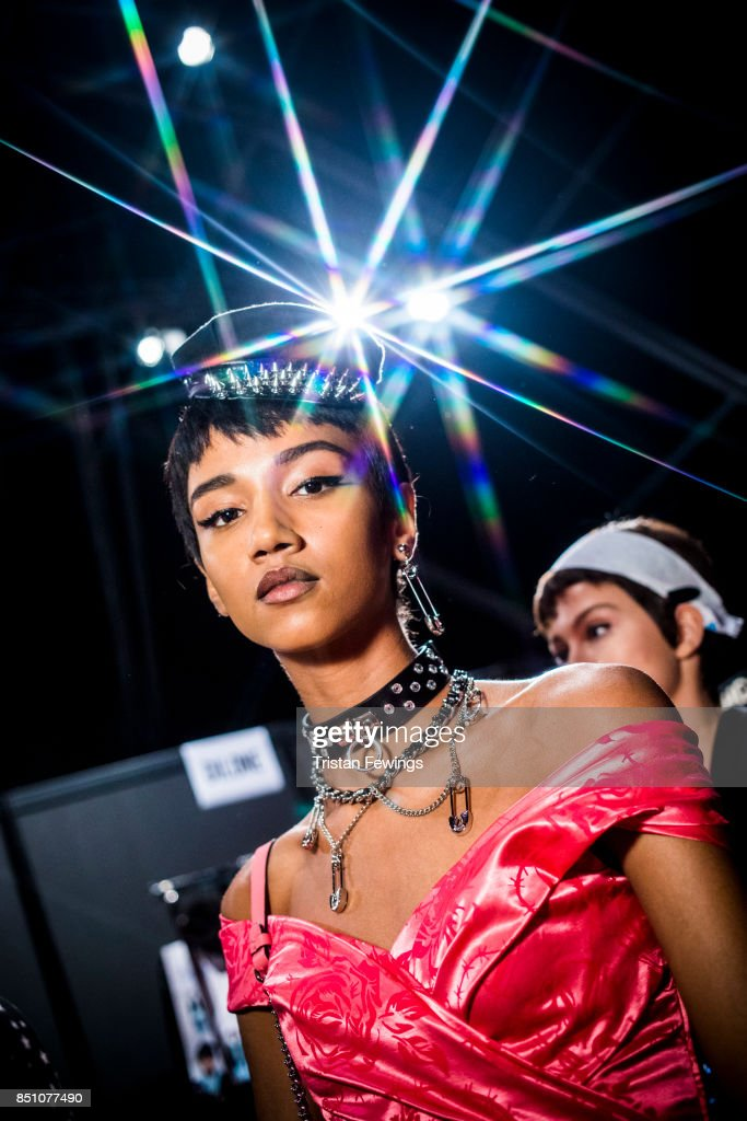 Model is seen backstage ahead of the Moschino show during Milan Fashion Week Spring/Summer 2018 on September 21, 2017 in Milan, Italy.