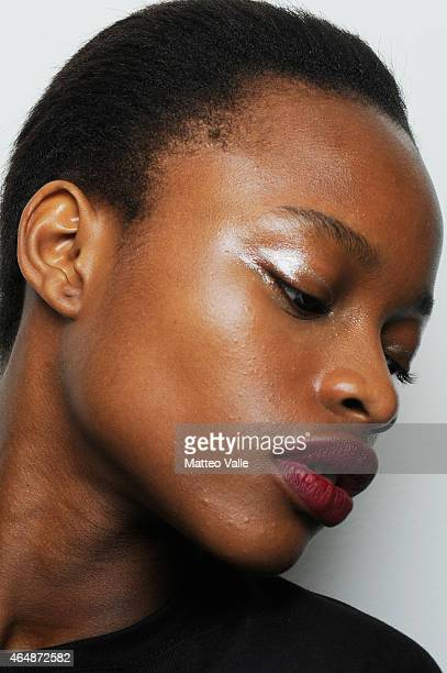 A model is seen backstage ahead of the MSGM show during the Milan Fashion Week Autumn/Winter 2015 on March 1 2015 in Milan Italy