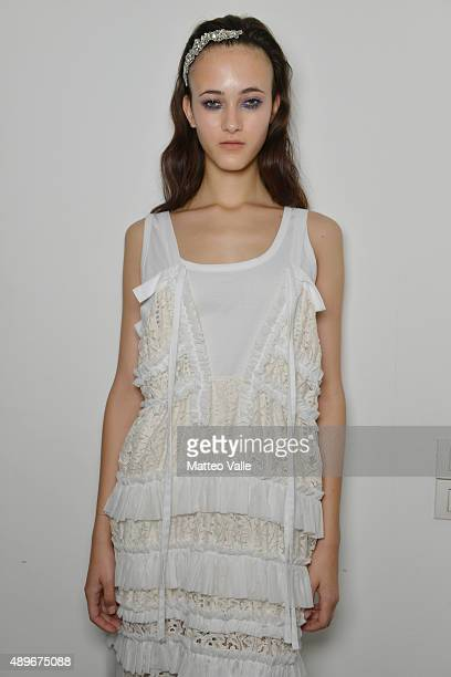 A model is seen backstage ahead of the N21 show during Milan Fashion Week Spring/Summer 2016 on September 23 2015 in Milan Italy