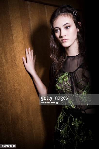 A model is seen backstage ahead of the N21 show during Milan Fashion Week Fall/Winter 2017/18 on February 22 2017 in Milan Italy