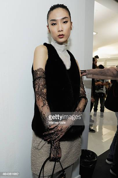 A model is seen backstage ahead of the No21 show during the Milan Fashion Week Autumn/Winter 2015 on February 25 2015 in Milan Italy