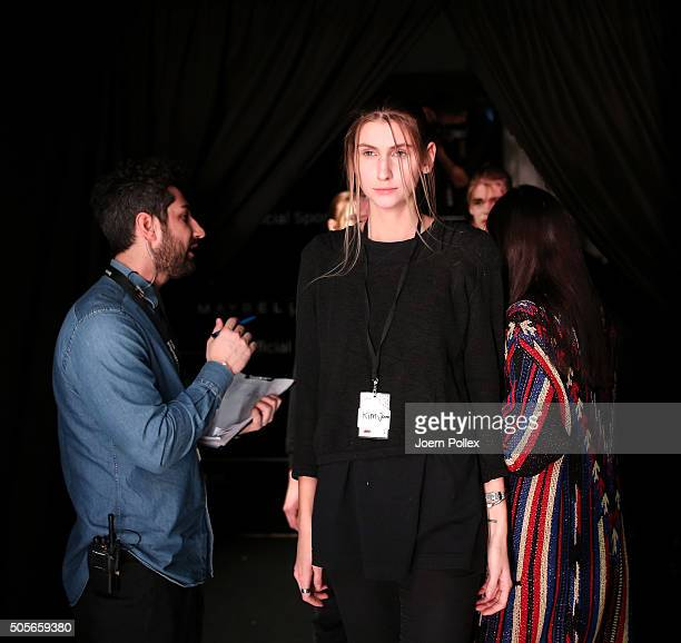 A model is seen backstage ahead of the Odeur show during the MercedesBenz Fashion Week Berlin Autumn/Winter 2016 at Brandenburg Gate on January 19...