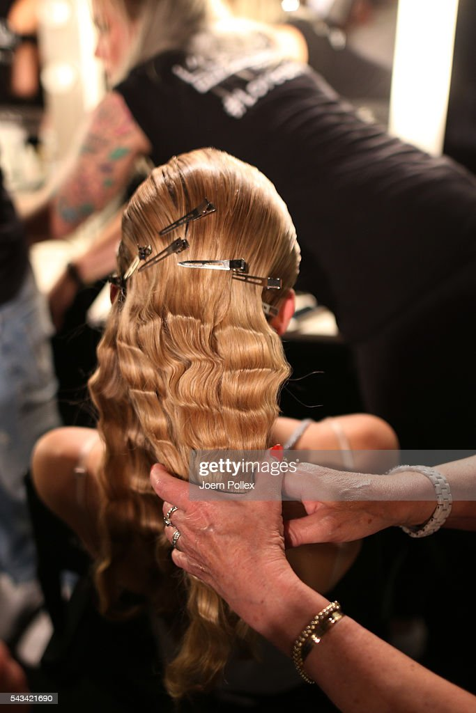 A model (hair detail) is seen backstage ahead of the Odeur show during the Mercedes-Benz Fashion Week Berlin Spring/Summer 2017 at Erika Hess Eisstadion on June 28, 2016 in Berlin, Germany.