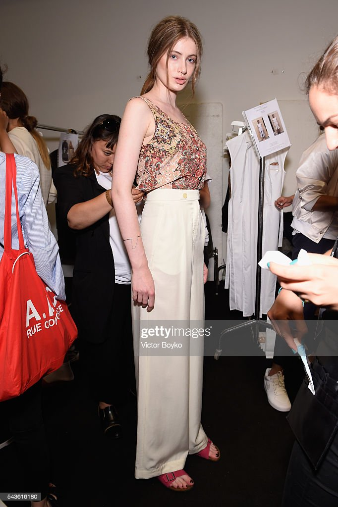 A model is seen backstage ahead of the Philomena Zanetti show during the Mercedes-Benz Fashion Week Berlin Spring/Summer 2017 at Stage at me Collectors Room on June 29, 2016 in Berlin, Germany.