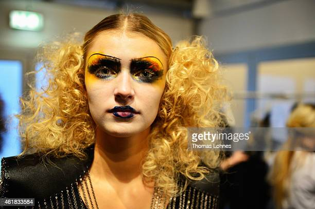 A model is seen backstage ahead of the Rebekka Ruetz show during the MercedesBenz Fashion Week Berlin Autumn/Winter 2015/16 at Brandenburg Gate on...