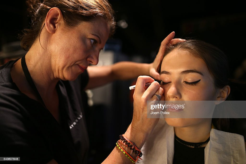 A model is seen backstage ahead of the Rebekka Ruetz show during the Mercedes-Benz Fashion Week Berlin Spring/Summer 2017 at Erika Hess Eisstadion on June 29, 2016 in Berlin, Germany.