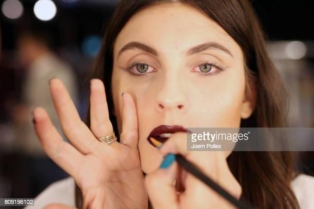 A model is seen backstage ahead of the Rebekka Ruetz show during the MercedesBenz Fashion Week Berlin Spring/Summer 2018 at Kaufhaus Jandorf on July...