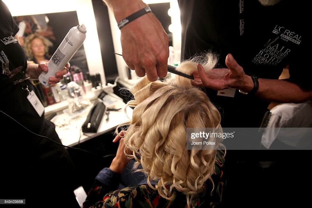 A model (hair detail) is seen backstage ahead of the Riani show during the Mercedes-Benz Fashion Week Berlin Spring/Summer 2017 at Erika Hess Eisstadion on June 28, 2016 in Berlin, Germany.