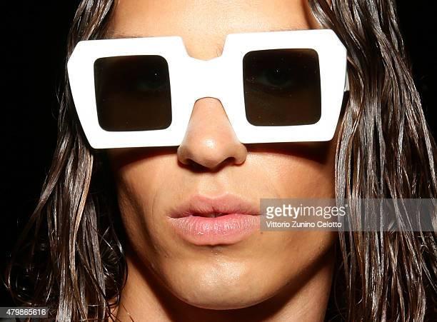 A model is seen backstage ahead of the Sadak show during the MercedesBenz Fashion Week Berlin Spring/Summer 2016 at Brandenburg Gate on July 8 2015...