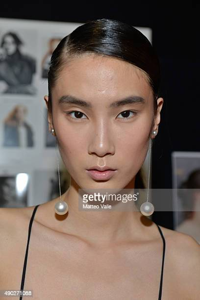 Model is seen backstage ahead of the Salvatore Ferragamo show during Milan Fashion Week Spring/Summer 2016 on September 27 2015 in Milan Italy