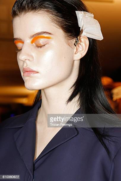 A model is seen backstage ahead of the Salvatore Ferragamo show during Milan Fashion Week Spring/Summer 2017 on September 25 2016 in Milan Italy