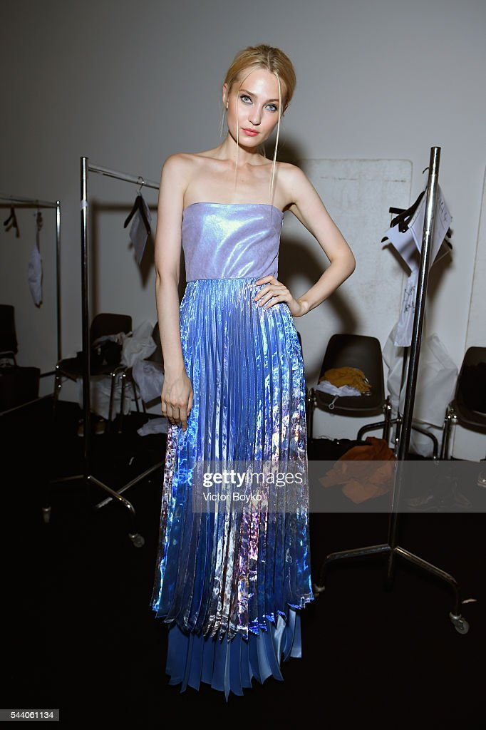 A model is seen backstage ahead of the Sammler Berlin show during the Mercedes-Benz Fashion Week Berlin Spring/Summer 2017 at Stage at me Collectors Room on July 1, 2016 in Berlin, Germany.
