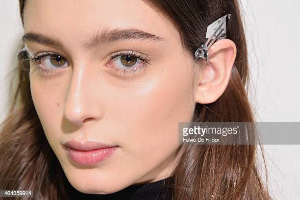 A model is seen backstage ahead of the Simonetta Ravizza show during the Milan Fashion Week Autumn/Winter 2015 on February 25 2015 in Milan Italy
