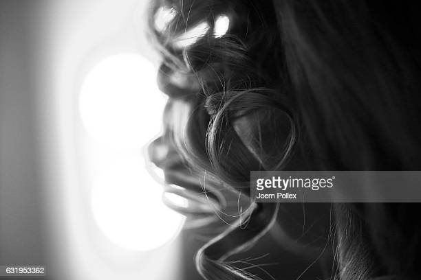 A model is seen backstage ahead of the Sportalm show during the MercedesBenz Fashion Week Berlin A/W 2017 at Kaufhaus Jandorf on January 18 2017 in...