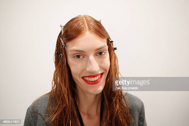 A model is seen backstage ahead of the Steinrohner show during the MercedesBenz Fashion Week Berlin Spring/Summer 2016 at Stage at me Collectors Room...