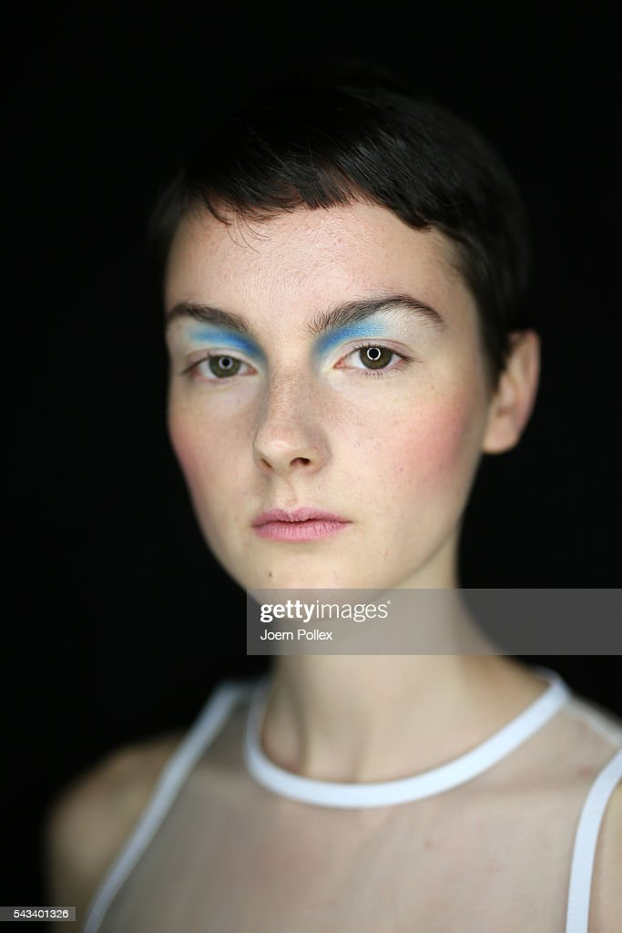 A model is seen backstage ahead of the Steinrohner show during the Mercedes-Benz Fashion Week Berlin Spring/Summer 2017 at Erika Hess Eisstadion on June 28, 2016 in Berlin, Germany.