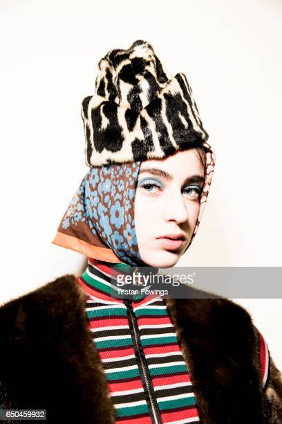 A model is seen backstage ahead of the Stella Jean show during Milan Fashion Week Fall/Winter 2017/18 on February 26 2017 in Milan Italy