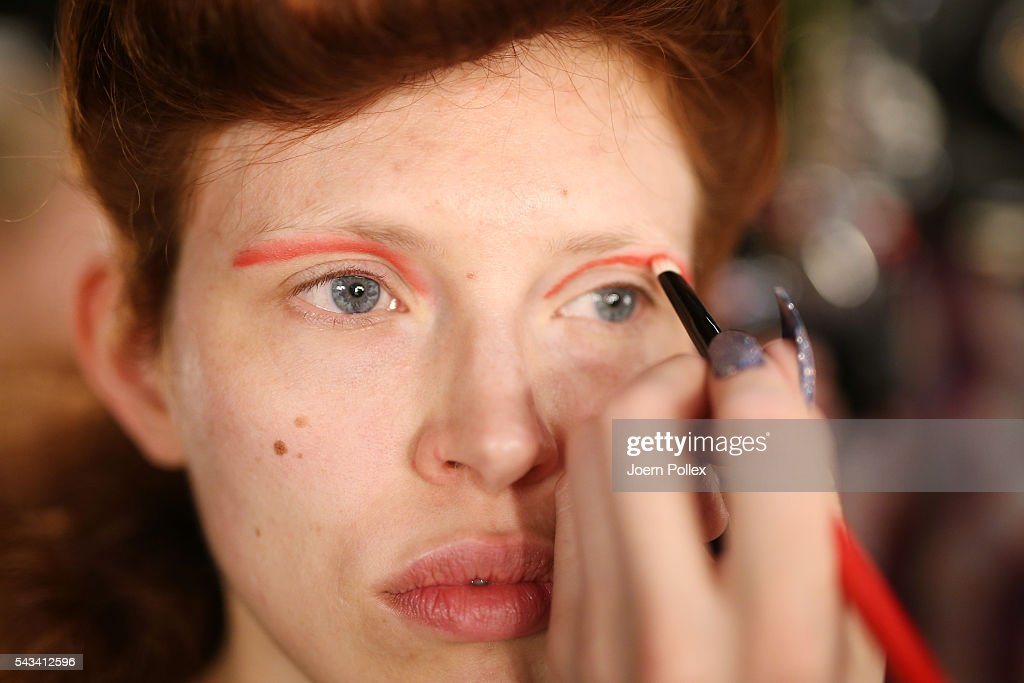 A model is seen backstage ahead of the Thomas Hanisch show during the Mercedes-Benz Fashion Week Berlin Spring/Summer 2017 at Erika Hess Eisstadion on June 28, 2016 in Berlin, Germany.