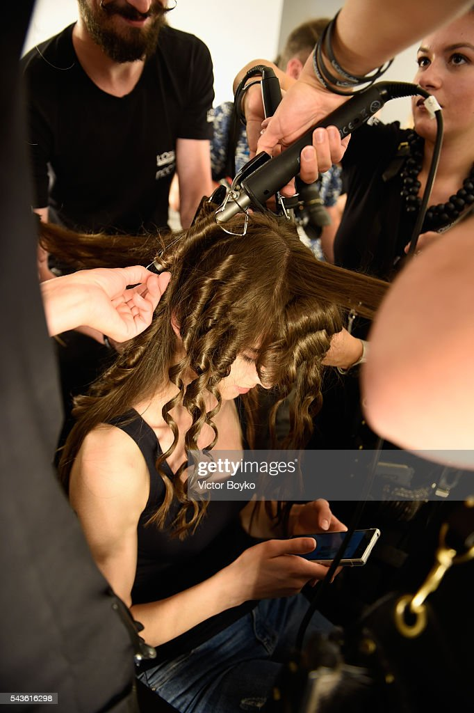 A model is seen backstage ahead of the Tomcsanyi show during the Mercedes-Benz Fashion Week Berlin Spring/Summer 2017 at Stage at me Collectors Room on June 29, 2016 in Berlin, Germany.