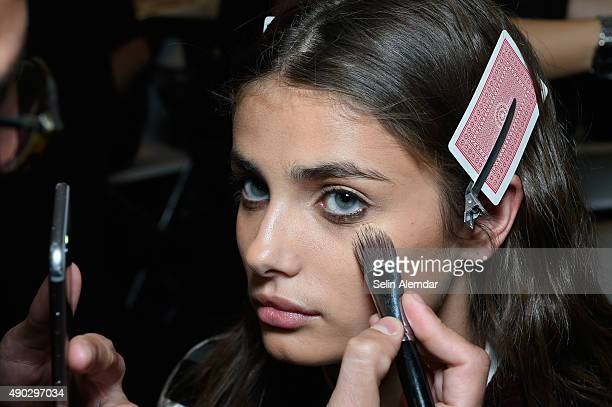 A model is seen backstage ahead of the Trussardi show during Milan Fashion Week Spring/Summer 2016 on September 27 2015 in Milan Italy