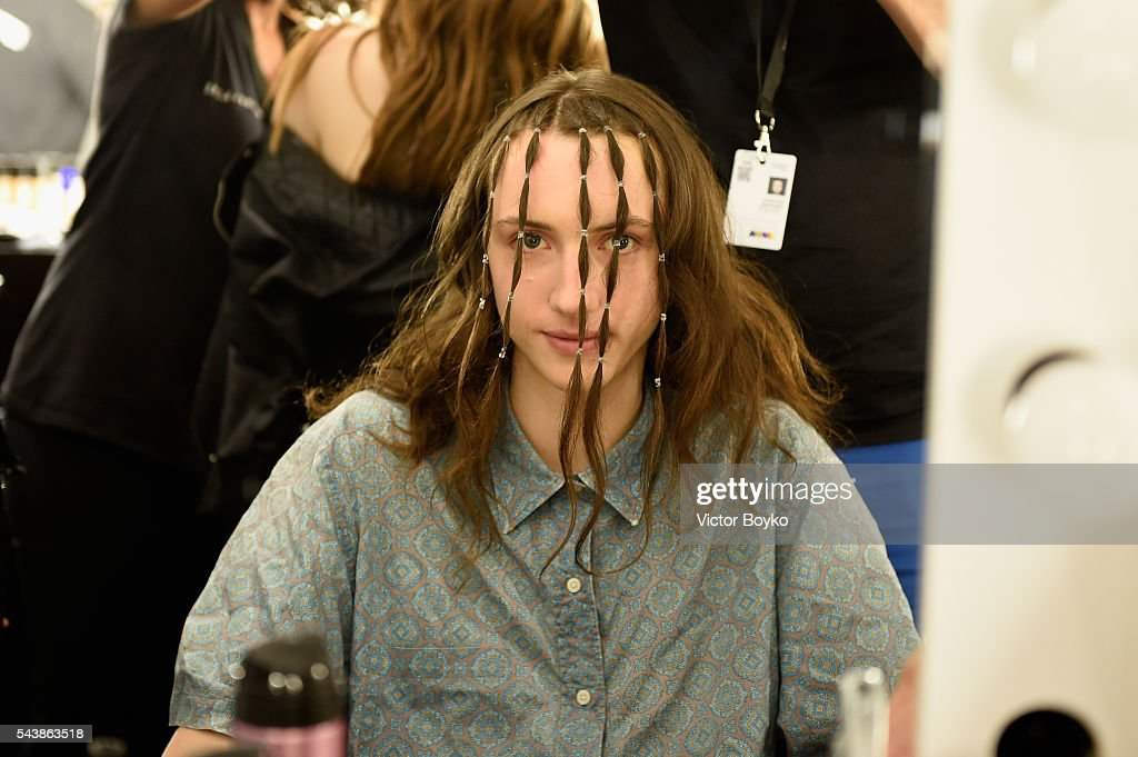 A model is seen backstage ahead of the Vanesa Krongold show during the Mercedes-Benz Fashion Week Berlin Spring/Summer 2017 at Stage at me Collectors Room on June 30, 2016 in Berlin, Germany.