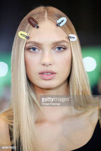 A model is seen backstage ahead of the Versace show during Milan Fashion Week Spring/Summer 2017 on September 23 2016 in Milan Italy