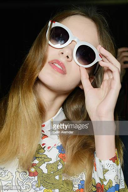 A model is seen backstage ahead of the Vivetta show during the Milan Fashion Week Autumn/Winter 2015 on February 28 2015 in Milan Italy