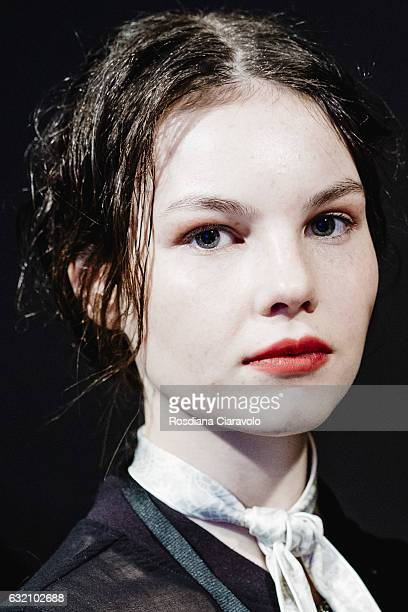A model is seen backstage ahead of the Vladimir Karaleev show during the MercedesBenz Fashion Week Berlin A/W 2017 at Kaufhaus Jandorf on January 19...