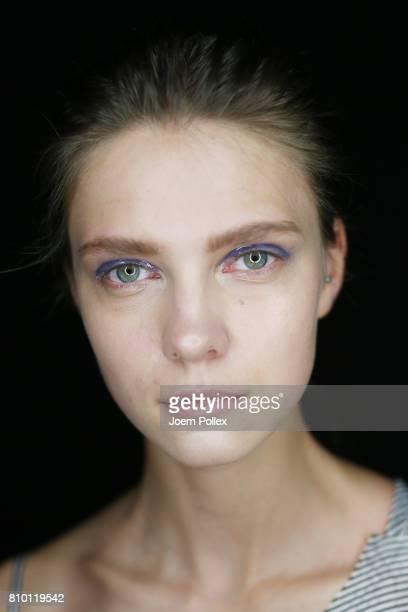 A model is seen backstage ahead of the Vladimir Karaleev show during the MercedesBenz Fashion Week Berlin Spring/Summer 2018 at Kaufhaus Jandorf on...