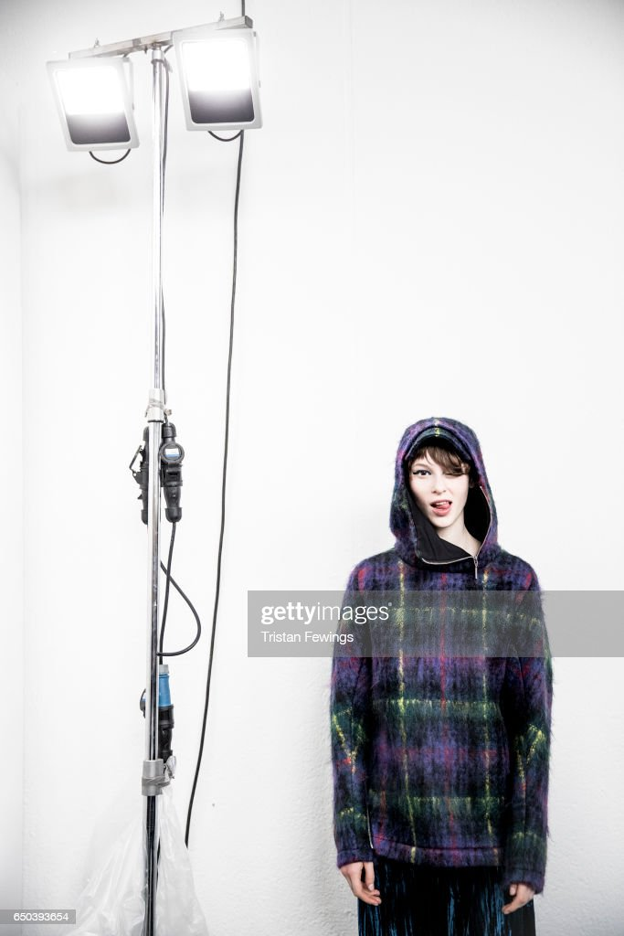 A model is seen backstage ahead of the Wunderkind show during Milan Fashion Week Fall/Winter 2017/18 on February 22, 2017 in Milan, Italy.