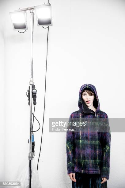 A model is seen backstage ahead of the Wunderkind show during Milan Fashion Week Fall/Winter 2017/18 on February 22 2017 in Milan Italy