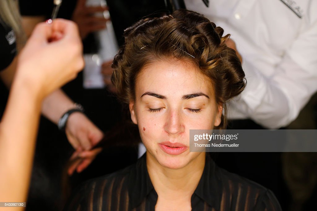 A model is seen backstage ahead the Ewa Herzog show as part of the Mercedes-Benz Fashion Week Berlin Spring/Summer 2017 at Erika Hess Eisstadion on June 28, 2016 in Berlin, Germany.