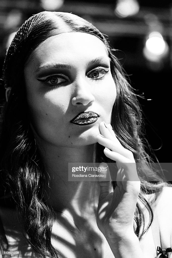 A model is seen backstage ahead the Rebekka Ruetz show during the Mercedes-Benz Fashion Week Berlin Spring/Summer 2017 at Erika Hess Eisstadion on June 29, 2016 in Berlin, Germany.