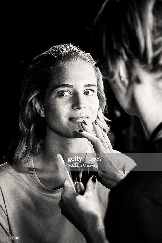 A model is seen backstage ahead the Riani show during the Mercedes-Benz Fashion Week Berlin Spring/Summer 2017 at Erika Hess Eisstadion on June 28, 2016 in Berlin, Germany.