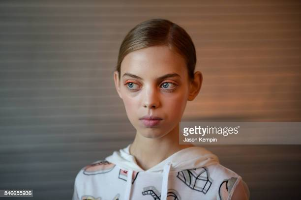 A model is seen backstage at Delpozo during Fashion Week at Pier 59 Studios on September 13 2017 in New York City