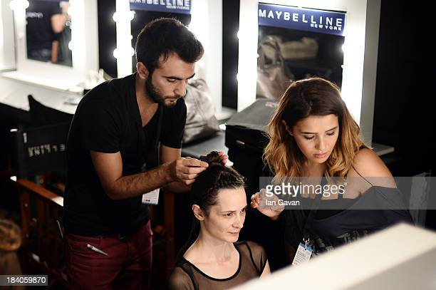 A model is seen backstage at the Argande show during MercedesBenz Fashion Week Istanbul s/s 2014 Presented By American Express on October 11 2013 in...