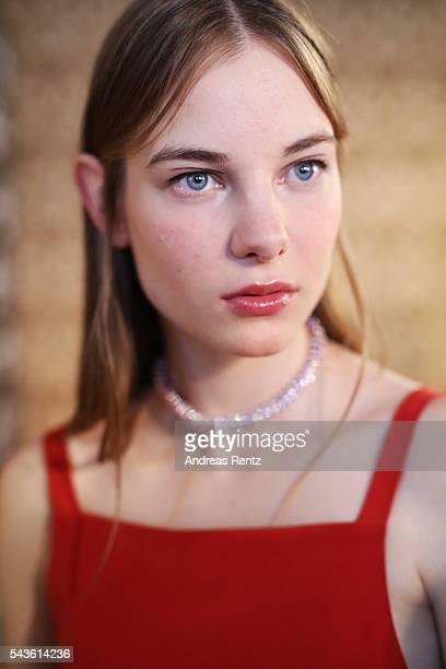 A model is seen backstage at the Malaikaraiss defilee during the Der Berliner Mode Salon Spring/Summer 2017 at Kronprinzenpalais on June 28 2016 in...