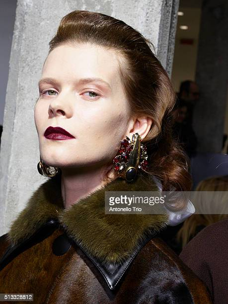 A model is seen backstage at the Marni fashion show during Milan Fashion Week Fall/Winter 2016/2017 on February 28 2016 in Milan Italy