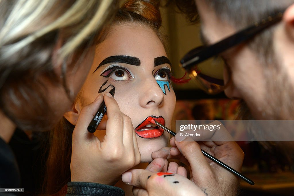 A model is seen backstage at the Maybelline New York By DB Berdan show during Mercedes-Benz Fashion Week Istanbul s/s 2014 presented by American Express on October 8, 2013 in Istanbul, Turkey.