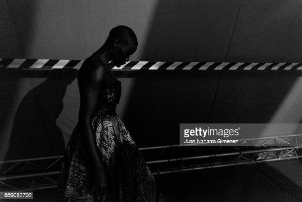 A model is seen backstage at the Nadir Tati fashion show during Lisbon Fashion Week 'ModaLisboa' Spring/Summer 2018 at Pavilhao Carlos Lopes on...