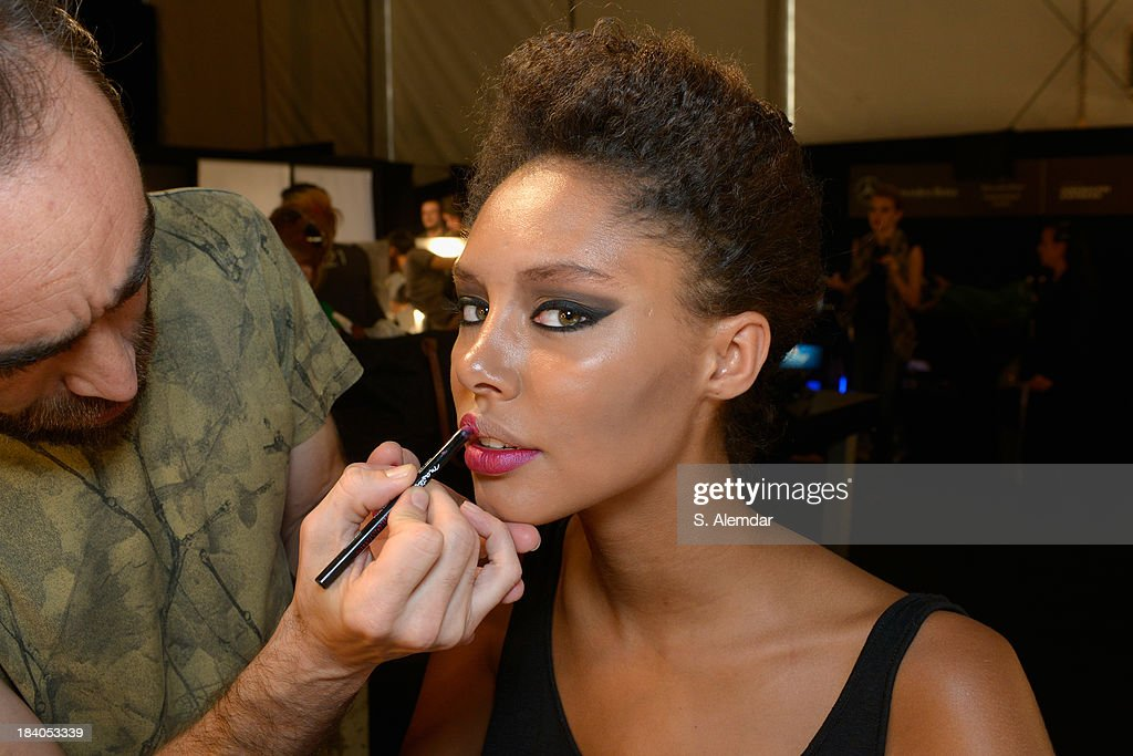 A model is seen backstage at the Odrella show during Mercedes-Benz Fashion Week Istanbul s/s 2014 Presented By American Express on October 11, 2013 in Istanbul, Turkey.