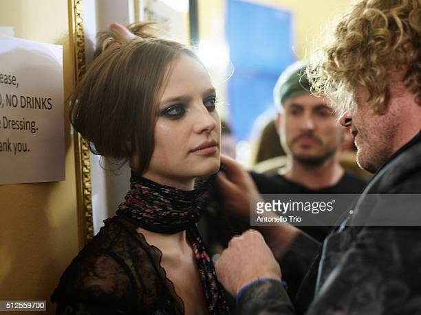 A model is seen backstage at the Roberto Cavalli fashion show during Milan Fashion Week Fall/Winter 2016/2017 on February 24 2016 in Milan Italy